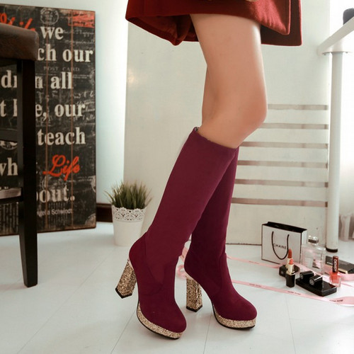 2015 Fashion Sweet Thin High Heels Platform  Autumn Or Winter Boots For Women  Round Toe High Heels Long Boots For Female<br><br>Aliexpress