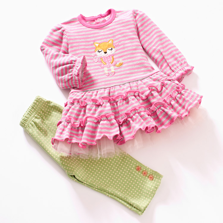 shopping festival baby girl child clothing spring and autumn girl long-sleeve clothes set 6m-24m lacedress+pants