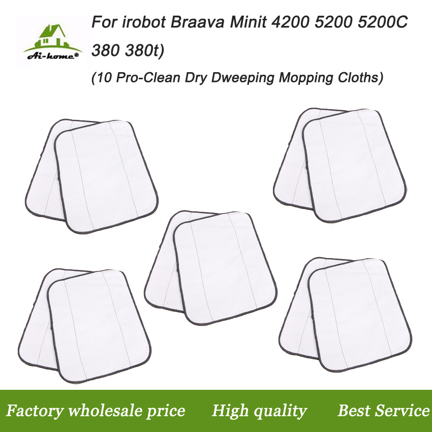 10* Microfiber Pro-Clean Dry Dweeping Mopping Cloths For iRobot Braava 380t 320 Mint 4200 5200 Robotic Resuable Cleaning Cloths(China (Mainland))