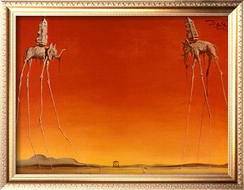 Abstract oil painting,Art Decoration,Canvas oil painting,The Elephants by Salvador Dali painting reproduction,Museum quality