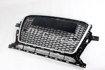 ABS Silver Frame Front RSQ5 Style Grille Black Honeycomb Grill ,Auto Car Bumper Grille Fit For Audi Q5 2013 UP Facelift(China (Mainland))