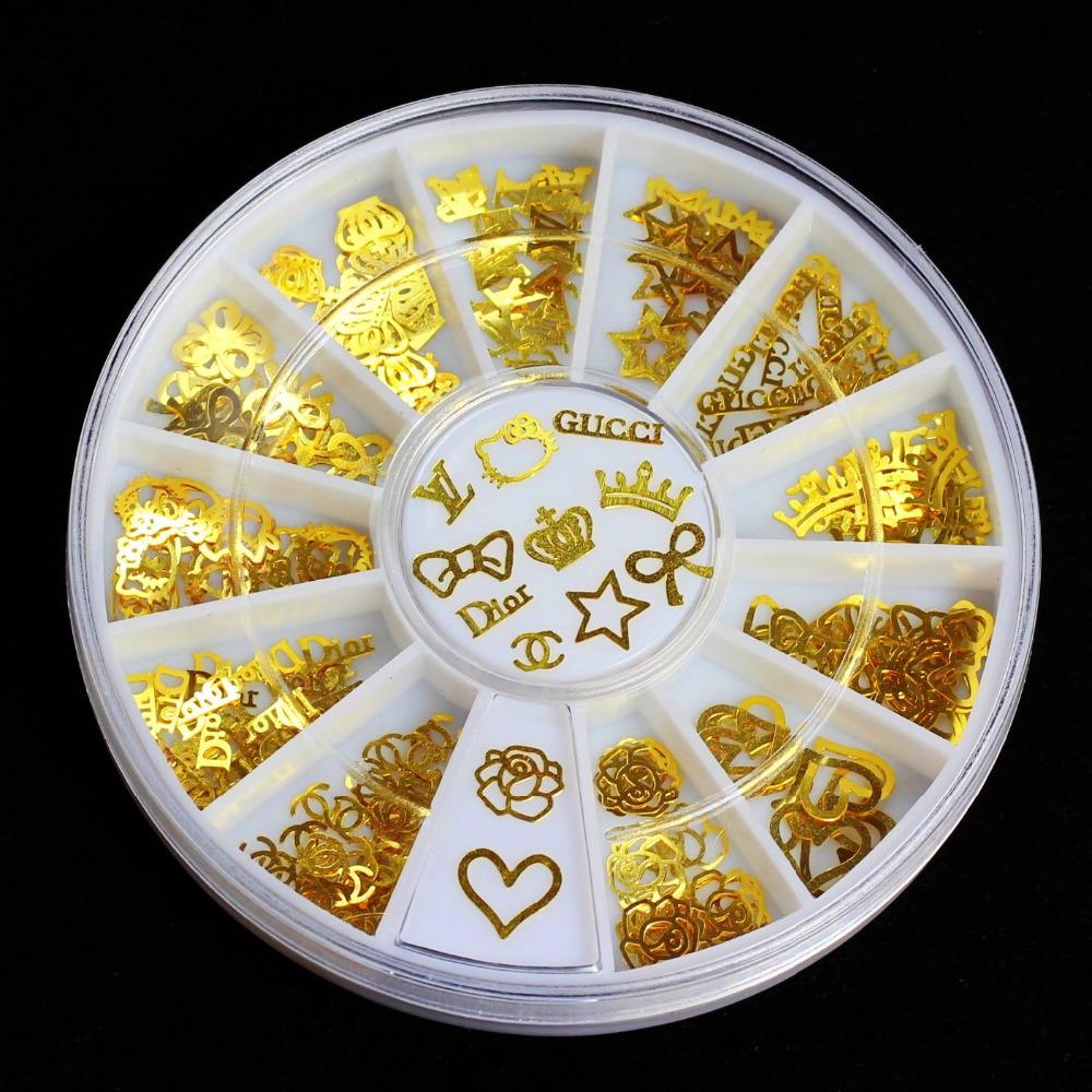 12 Models Gold Metal Stickers Nail Art Tips Crystal Glitter Rhinestone Fashion Nail Tools DIY Decoration Stamping(China (Mainland))