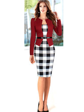 2015 Women Elegant Belted Tartan Patchwork Tunic Plaid Long Sleeve Wear to Work Business Casual Pencil Wiggle Sheath DressCG0040
