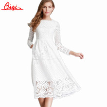 Sale Slim Sexy Hollow out Party Dresses Vintage Robe 2016 Spring Summer Fashion Vestidos Long Sleeved Plus Size Women Lace Dress(China (Mainland))