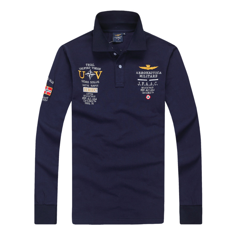 [New] 2015 men's spring Aeronautica militare Air Force One shirt,men brand bomber long sleeve shirts,men causal Embroidery polo