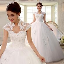 2016 double-shoulder slim slit neckline bag lace strap married bride Wedding Dresses(China (Mainland))