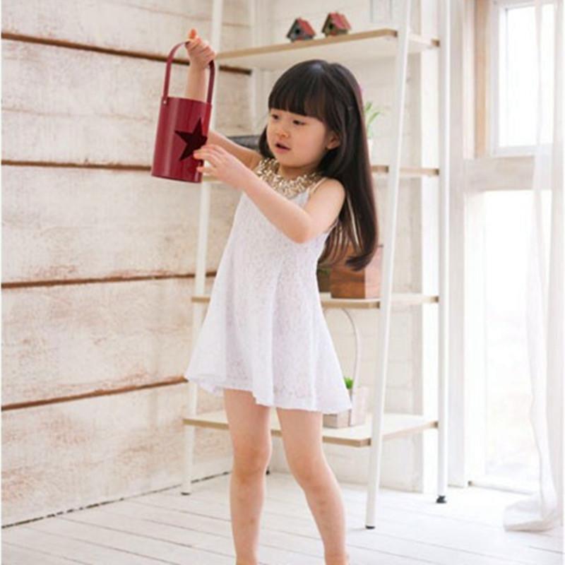 2016 Summer Girls Lace Dress Baby Girls Sleeveless Sequins Clothing Dress Peter Pan Collar Kids Princess Costume For 100-140cm(China (Mainland))
