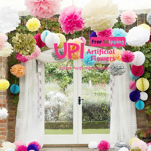 Mix Colors 14 inch Wedding Flower Ball Paper Pom Poms Decoration & Home Party Decor - Union Pacific International Trading Ltd. store