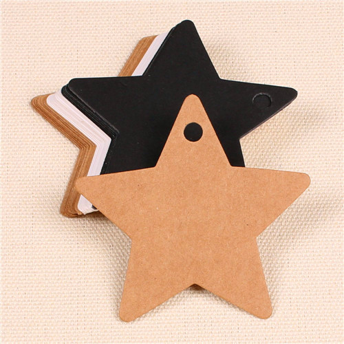 300pcs 6*6cm garment accessories blank star design 3 colors art paper hang tag, shoes/clothing tags,message card(China (Mainland))