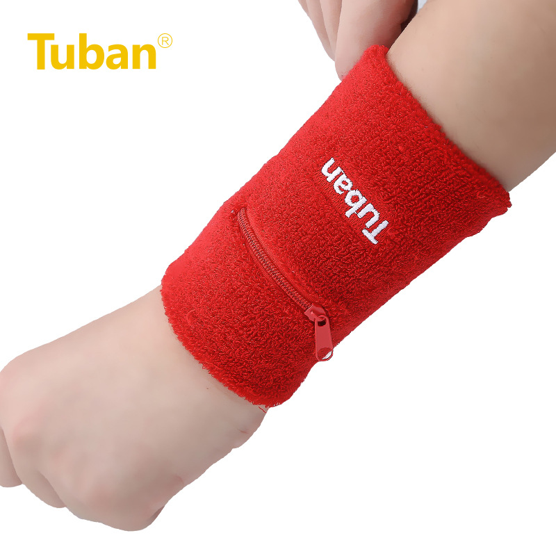TUBAN Outdoor Sports Safety Wrist Support Sweat Wrist Band Tennis Volleyball Basketball Badminton Men and Women zippered pocket(China (Mainland))