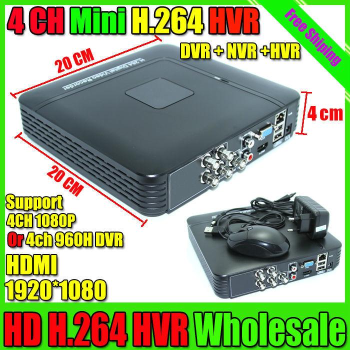 Mini 4CH H.264 CCTV DVR NVR Recorder P2P iCloud 4ch Full D1 Up to HD 1920*1080 CCTV DVR 1080P ONVIF NVR Recorder Free Shipping(China (Mainland))