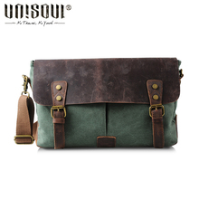 UNISOUL Messenger Bag man canvas leather Vintage men's bags 2016 Satchels high quality Casual Briefcases Crossbody Bag(China (Mainland))
