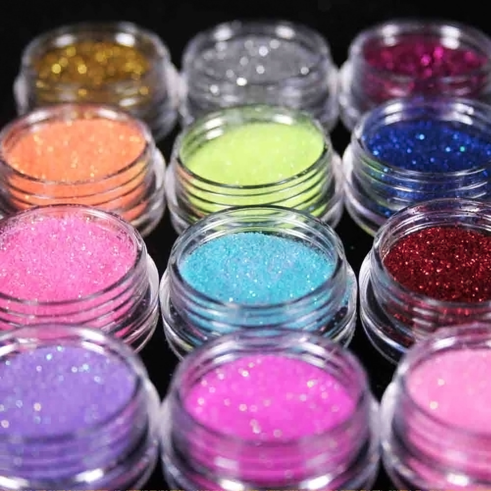 12 Color Metal Glitter Nail Art Tool Kit Acrylic Powder