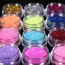 12 Color Metal Glitter Nail Art Tool Kit Acrylic  Powder Dust gem Polish Nail Tools #M01090