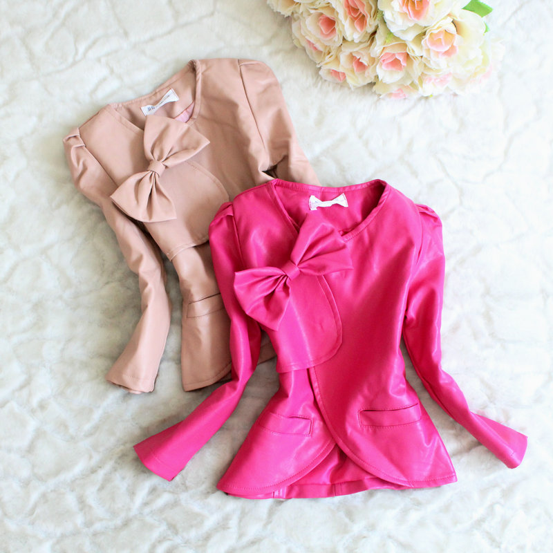-- 2013 new fall Korean fashion Girls leather jacket bow 3 color