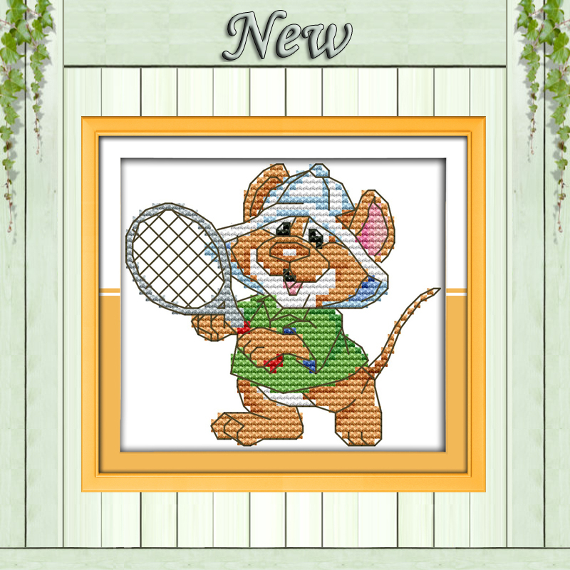 Tennis The sport mouse home decor paintings counted Printed on canvas DMC 11CT 14CT Cross Stitch kits Needlework Sets embroidery(China (Mainland))