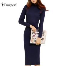 TANGNEST Fashion 2016 Women Autumn Winter Sweater Dresses Slim Turtleneck Sexy Bodycon Solid Color Robe LongKnitted Dress WZQ128(China (Mainland))