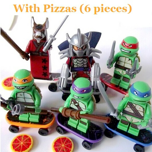 TMNT 6 Pcs Set Teenage Mutant Ninja Turtles Action Mini Figures Building Toy New Kids Gift  Free Shipping Compatible With Lego(China (Mainland))