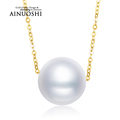 Pure Solid 18k Yellow Gold Fresh Water Pearl Necklace Women Chain Necklace Gift Natural Pearl Link