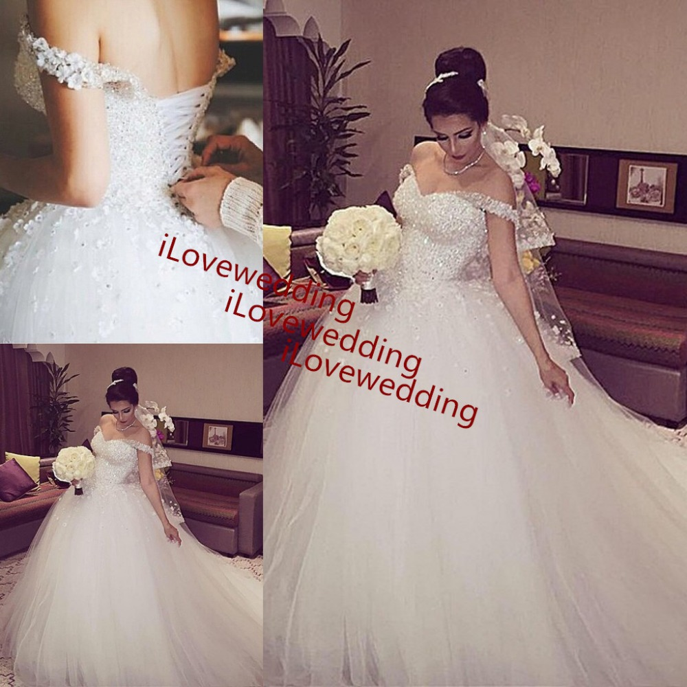 Vintage Off The Shoulder Ball Gown Wedding Dress Women Beaded 2015 White Vestido De Noiva Tulle Bridal Wedding Dresses Gowns(China (Mainland))