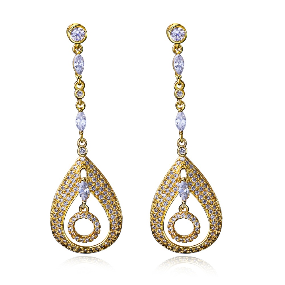 Very Beautiful and Interesting Earrings! Gold plate With White Cubic Zirconia, Water Drop Long Excellent Earrings(China (Mainland))
