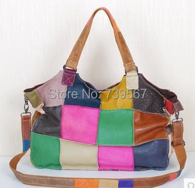 new leather soft suede casual splicing BaoMinZu wind personality bump color pack one shoulder handbag locomotive carrying bag(China (Mainland))