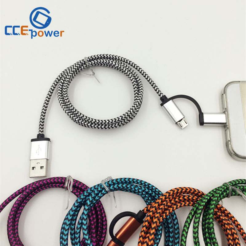 1M 2in1 Aluminum Metal Braided Micro usb Cable For iPhone 6 5S 5 ios9 For Samsung Galaxy Android Fast Charging USB Charger Cable(China (Mainland))