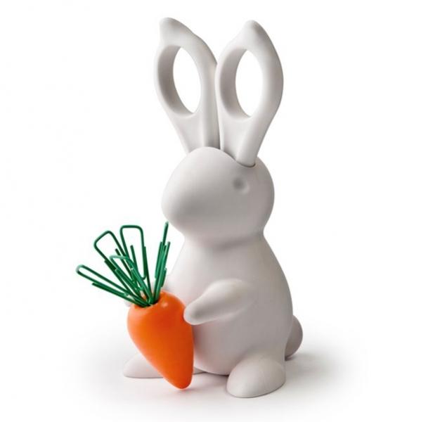 Qualy | Deskbunnyscisscors Cacalia scissors set white rabbit radish magnet pin notes(China (Mainland))