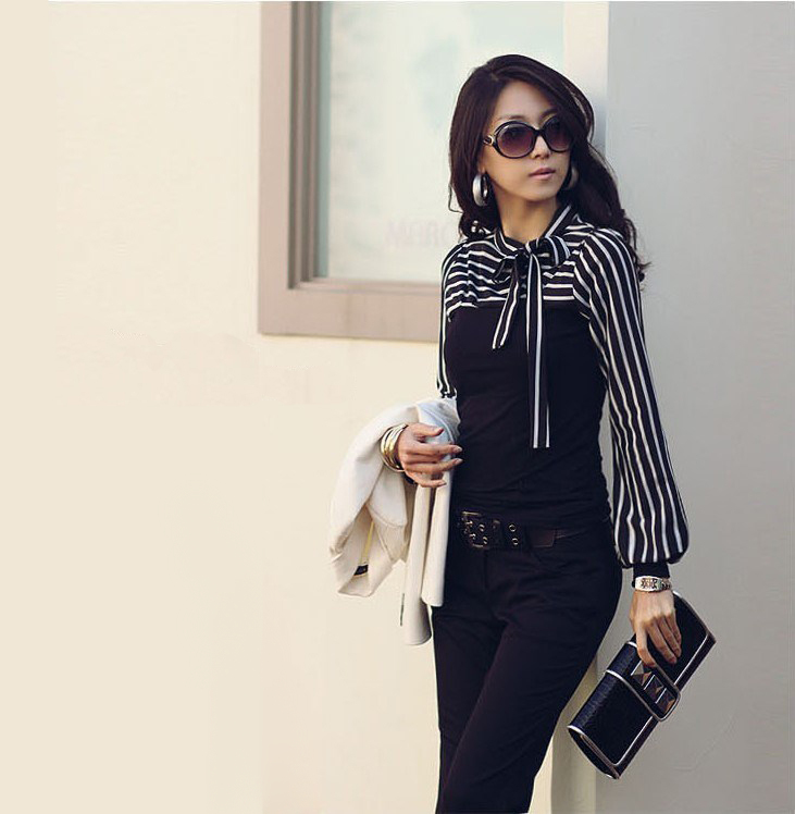 New 2015 Office Ladies Fashion Black White Striped Bow Long Sleeve Tops Women Blouse Shirt(China (Mainland))
