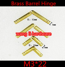 Durable 20pcs M3*22mm  3mm  Brass Barrel Hinge Round Cylindrical Hidden Cabinet Hinges Concealed Invisible Mortise Mount Hinge(China (Mainland))