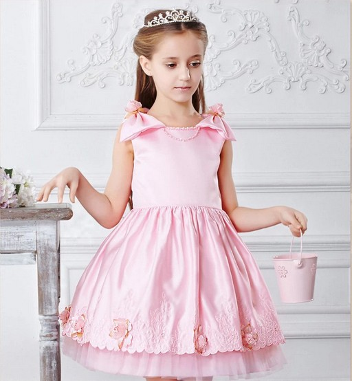 2014 new Girls Dress Princess dress children's wear Party veil Big bow girl wedding flower Baby girls Pink - Just Me store