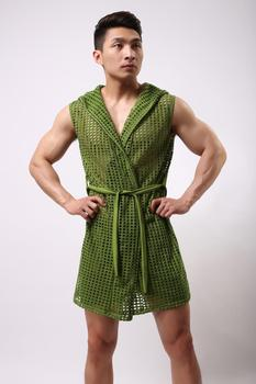 male bathrobe summer elastic nylon mesh robe men with a hood bathrobe robe sexy sleepwear men