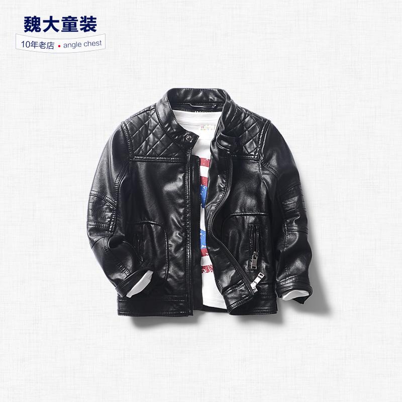 2016 font b boys b font leather coat jacket collar and a children s font b