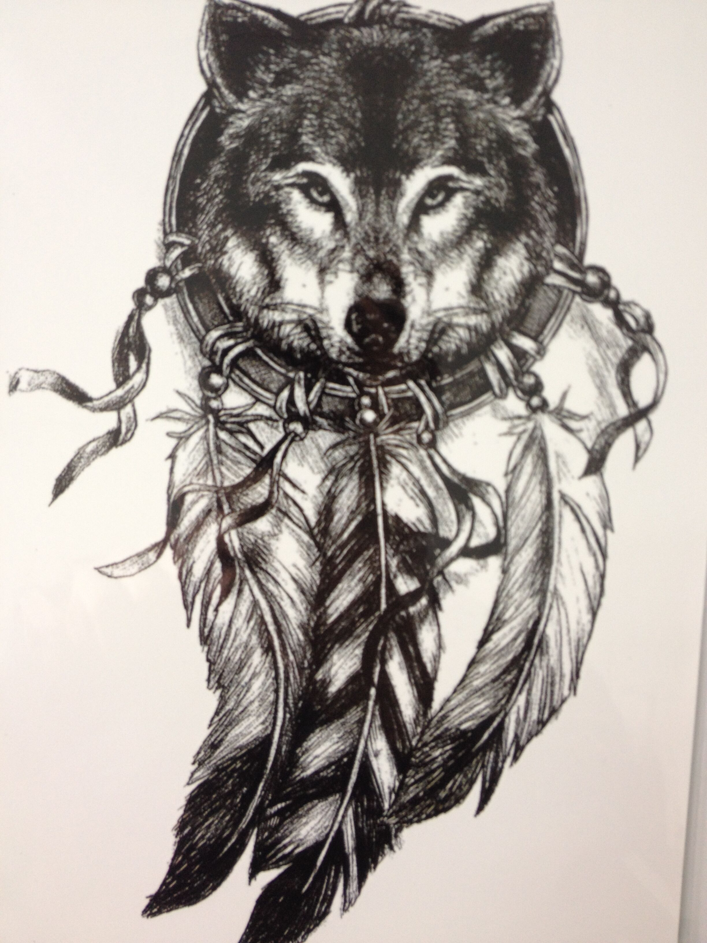 2016 wolf with feather cool beauty tattoo waterproof hot for Wolf tattoo with feathers