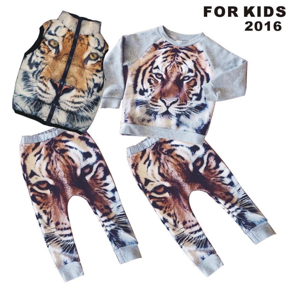 children sets kids Hot sale Girls Boys t shirt +Pants 3D Digital Tiger Printed Baby Harem Pants Boy Girl Kids Children Trousers(China (Mainland))