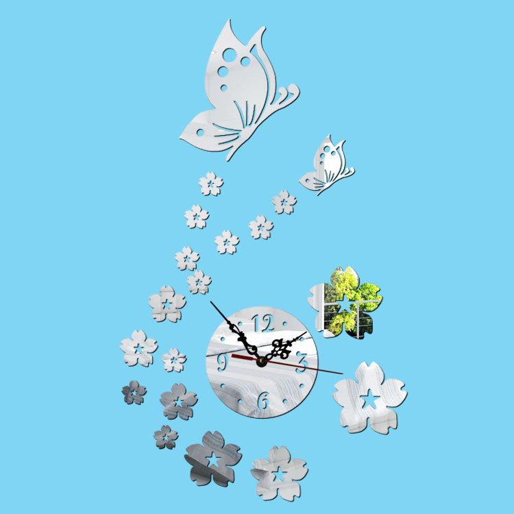 2016 New Ikea Creative Hot Sale Living Room Digital Wall Stickers Butterfly Wall Clock DIY Acrylic Modern Design Wall Clock Bed(China (Mainland))