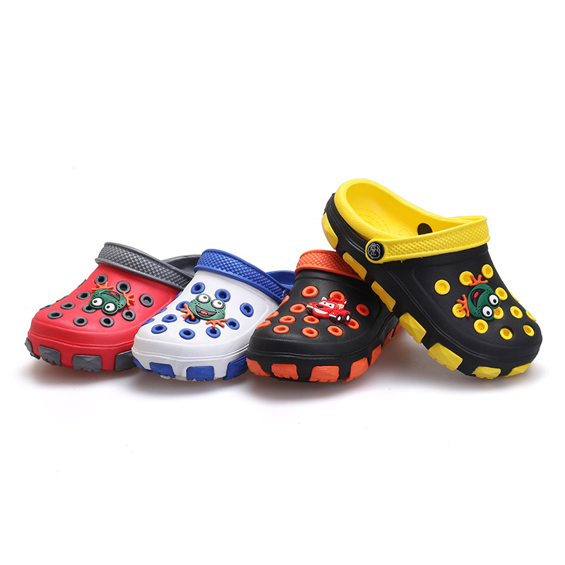 summer little boys girls mules and clogs garden shoes hollow children slipper cartoon frog PU toddler kids beach sandals FA032
