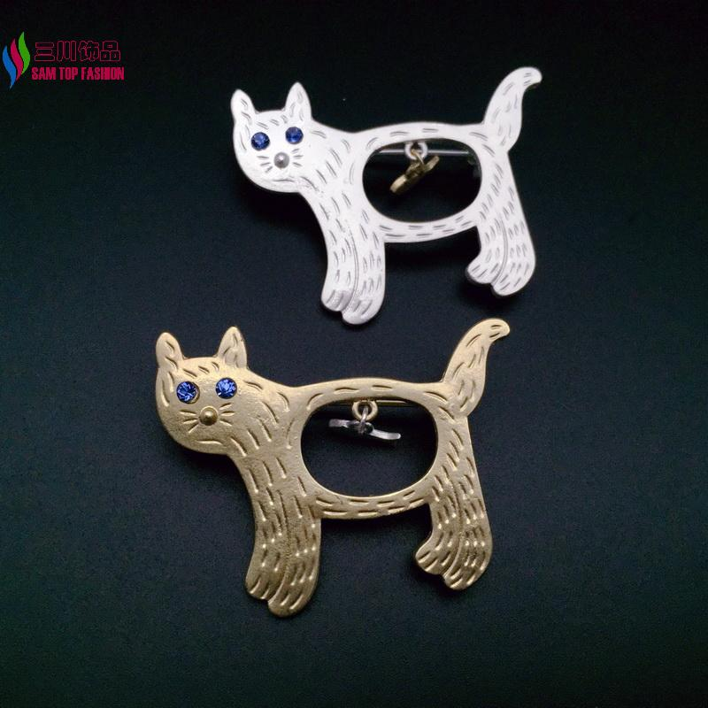 2016 Animal Pins girl's Fashion Cute Gold/ Silver plated Cat Fish Costume Brooches accessories jewelry broches for women(China (Mainland))