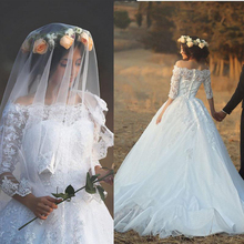 New Design 2016 Long Wedding Dress Boat Neck Half Sleeves Ball Gown Appliques Tulle Lace Chapel cheap Wedding Dresses Online(China (Mainland))
