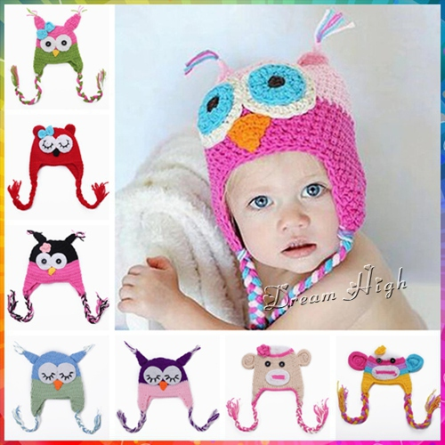 Animal girls winter baby hats,night owl crochet baby hat,Handmade all for children clothing and accessoried newborn caps #3C2650(China (Mainland))
