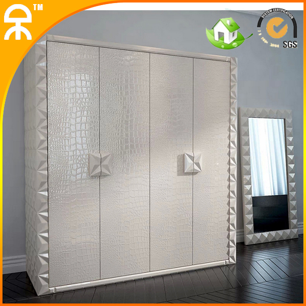 2014 new desgin modern leather 4 wardrobe for young people #CE-983(China (Mainland))