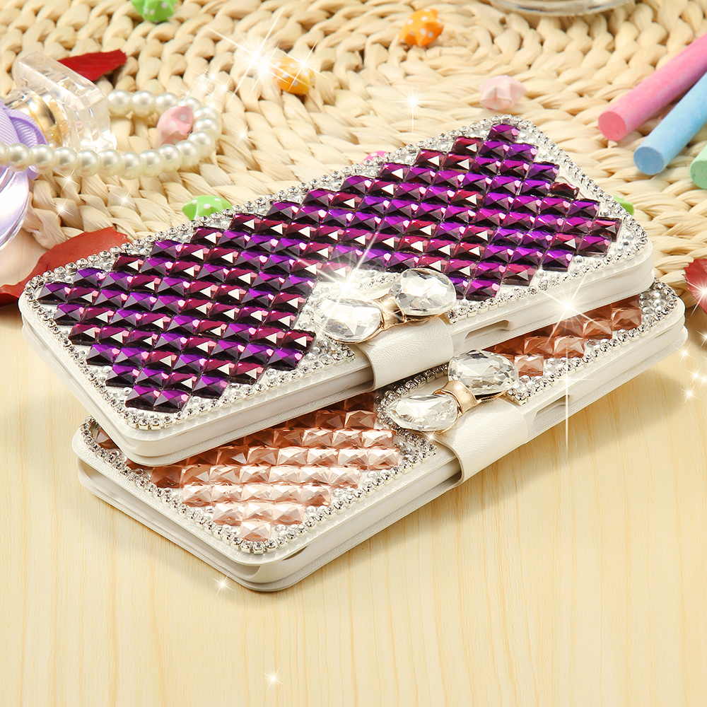 S5 S6 S6Edge Plus Glitter Diamond Flip Wallet Card Slots Crystal Bow knot Buckle Case For