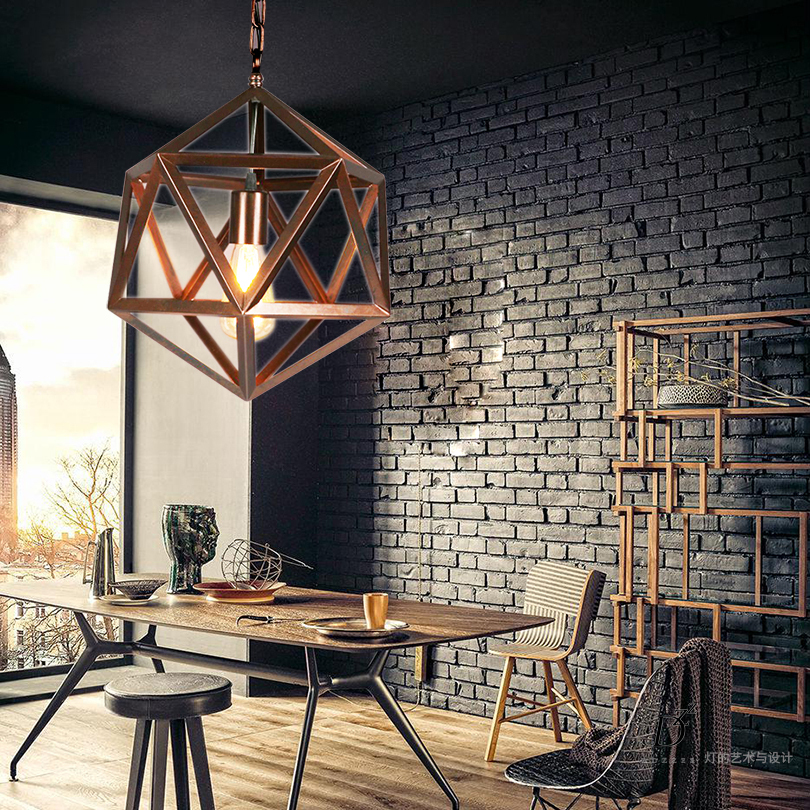 american country style retro industrial polyhedron creative personality iron works loft restaurant clubs diamond chandelier american country style loft