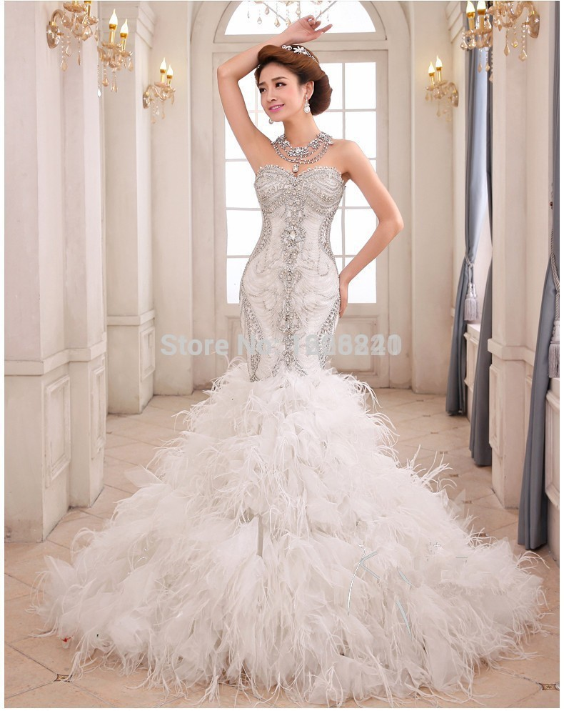 2015 New Luxury Crystal Wedding Dresses Bodice Feathers Organza Ruffed Mermaid Wedding Dress ...
