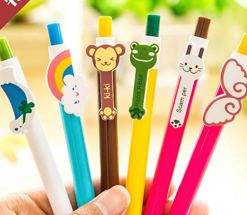 3 pcs/lot Lovely Korea Stationery Cartoon Cute Rainbow Telescopic Ball Point Pen Ballpen Office School Promotion Gift(China (Mainland))