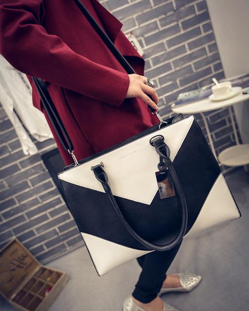 Сумки ударил цвет черный и белый геометрический узор сумки сумка диагональные сумки