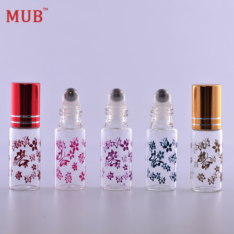MUB - 5 ml (100 pieces/lot) Essential Oil Roller Bottles With Metal Roll On Butterfly Printing Perfume Bottle Wholesale(China (Mainland))