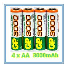 Brand New 2015 0riginal 4pcs/Lot GP 1.2V NiMh AA 3000 mAh Battery Rechargeable AA Batteries pilas recargables free shipping