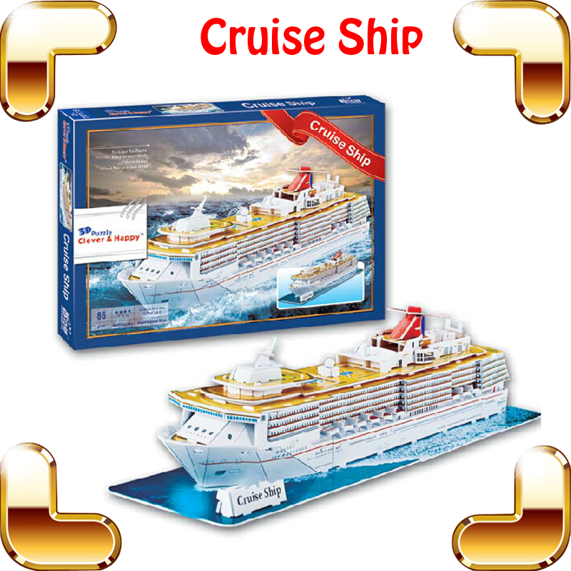 New Year Gift Large Cruise Ship 3D Puzzle Model Big Vessel Paper DIY Boat Collection Learning Education Toys Decoration Ship(China (Mainland))