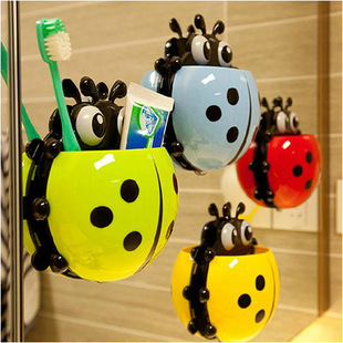 Creative Home Accessories Cartoon Ladybird Toiletries Toothpaste Holder Bathroom Sets Suction Hooks Tooth Brush Holder(China (Mainland))